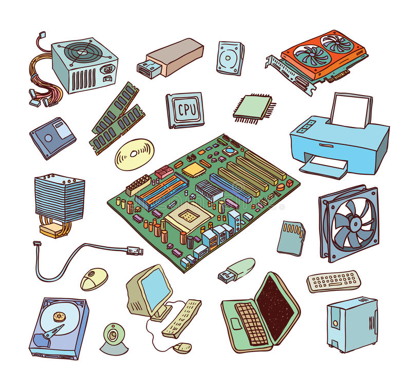 Icone dell'hardware di calcolatore Componenti del PC royalty illustrazione gratis