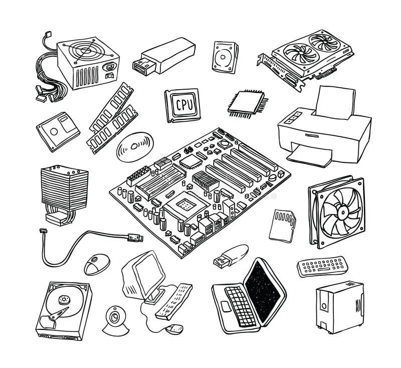 Icone dell'hardware di calcolatore Componenti del PC illustrazione vettoriale