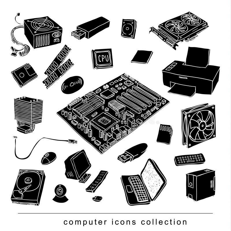 Icone dell'hardware di calcolatore Componenti del PC illustrazione di stock