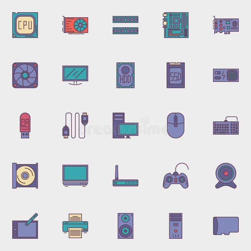 Icone dell'hardware di calcolatore impostate illustrazione di stock