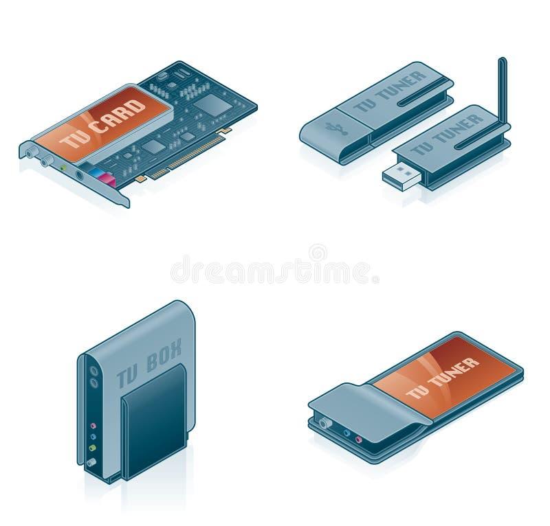 Icone dell'hardware di calcolatore impostate - elementi 55k di disegno royalty illustrazione gratis