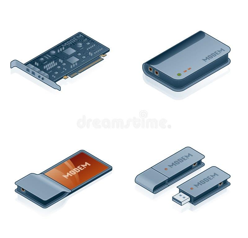 Icone dell'hardware di calcolatore impostate - elementi di disegno 55m illustrazione vettoriale