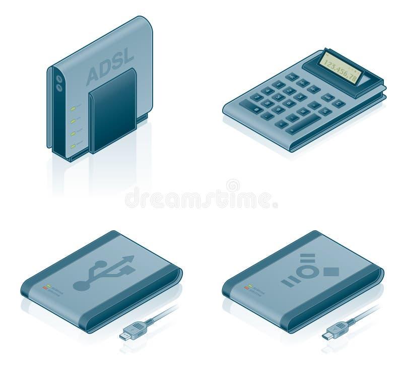 Icone dell'hardware di calcolatore impostate - progetti gli elementi 55a royalty illustrazione gratis