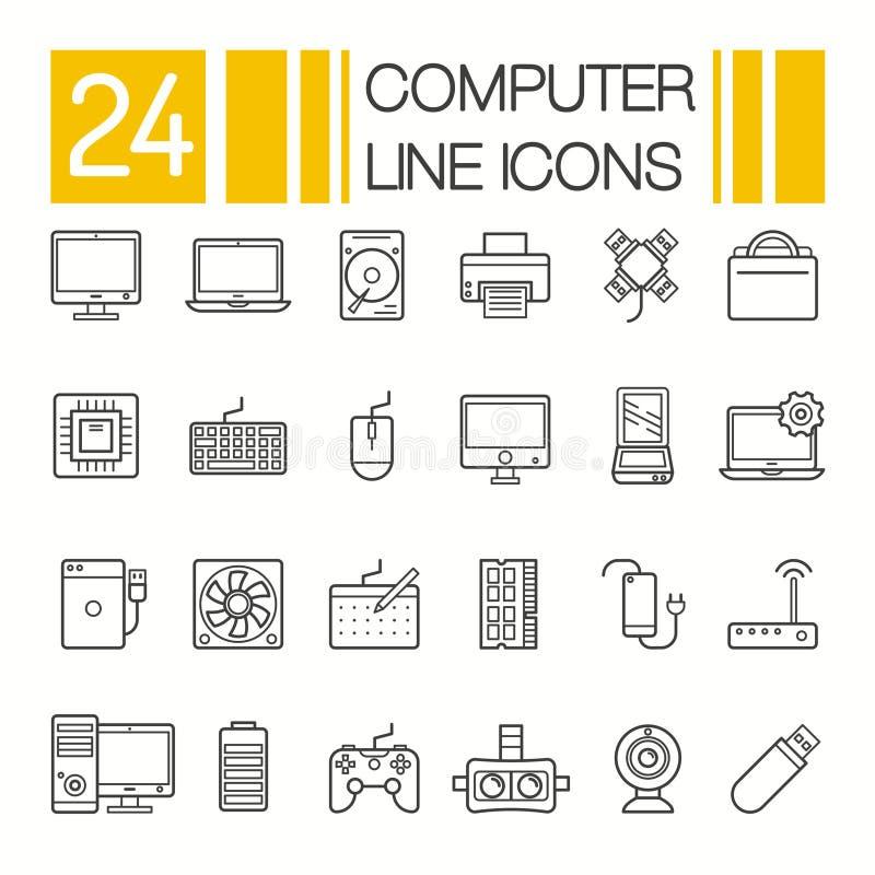 Icone dell'hardware di calcolatore Le componenti ed i dispositivi del PC assottigliano la linea vettore royalty illustrazione gratis