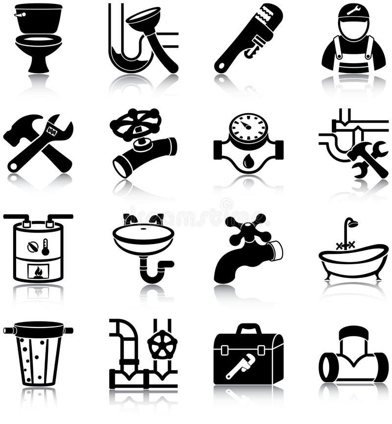 Icone dell'impianto idraulico illustrazione vettoriale