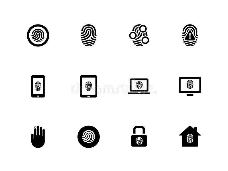 Icone dell'impronta digitale su fondo bianco. illustrazione vettoriale