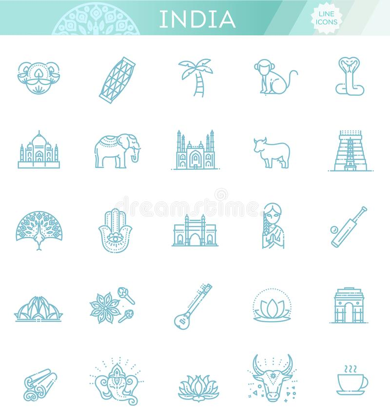 Icone dell'India messe Attrazioni indiane, linea progettazione Turismo in India, illustrazione isolata di vettore Simboli tradizi illustrazione vettoriale