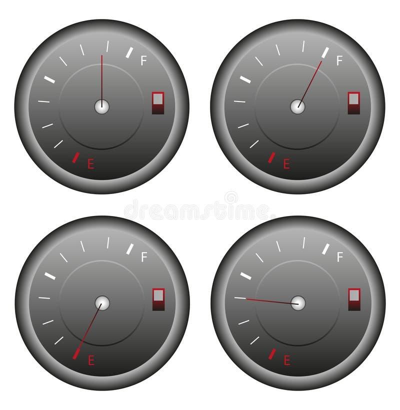 Icone dell'indicatore del carburante messe illustrazione di stock