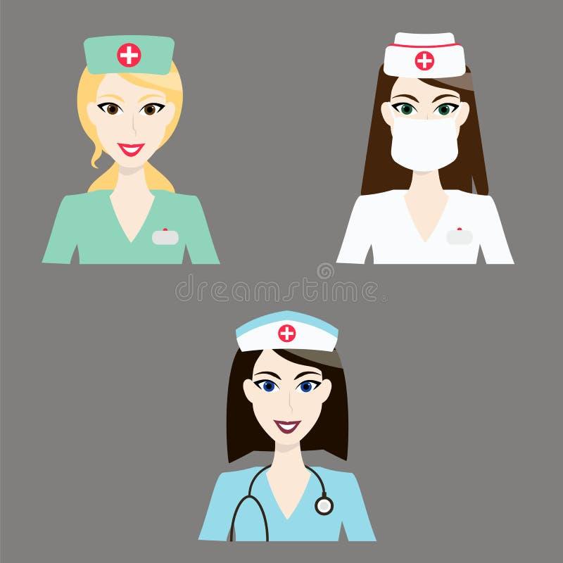 Icone dell'infermiere e di medico Avatar piani variopinti del personale medico su fondo grigio chiaro Illustrazione di vettore illustrazione vettoriale