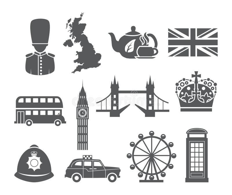 Icone dell'Inghilterra messe illustrazione di stock