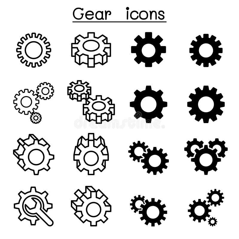 Icone dell'ingranaggio illustrazione di stock