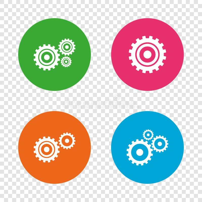 Icone dell'ingranaggio della ruota dentata Simbolo del meccanismo illustrazione di stock