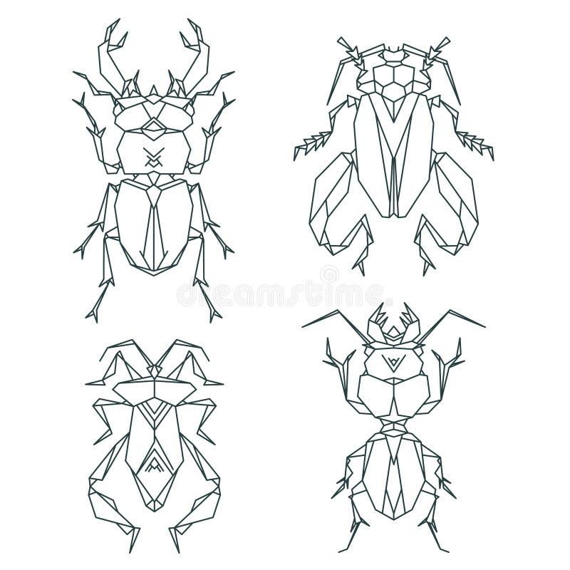 Icone dell'insetto, insieme dell'icona di vettore Stile triangolare astratto illustrazione vettoriale