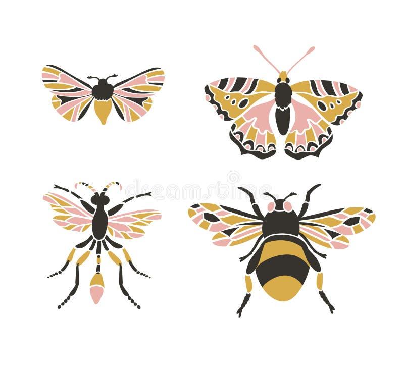 Icone dell'insetto, insieme di vettore Stile triangolare astratto illustrazione vettoriale
