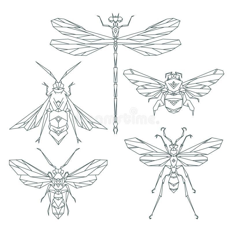 Icone dell'insetto, insieme di vettore Stile triangolare astratto ape, bombo, libellula, vespa illustrazione di stock