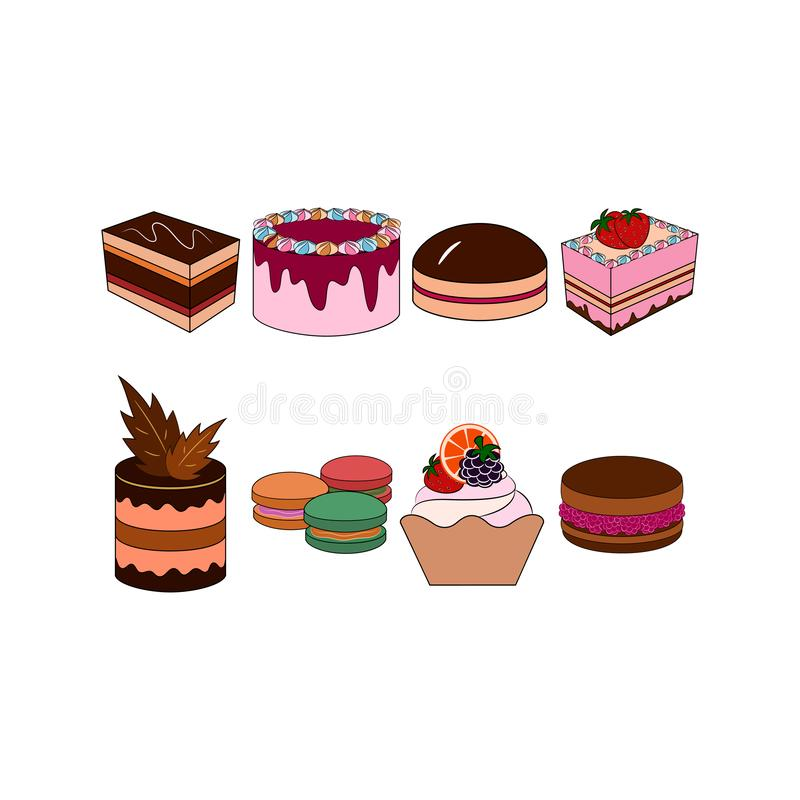 Icone dell'insieme dei dolci Raccolta del forno di vettore illustrazione di stock