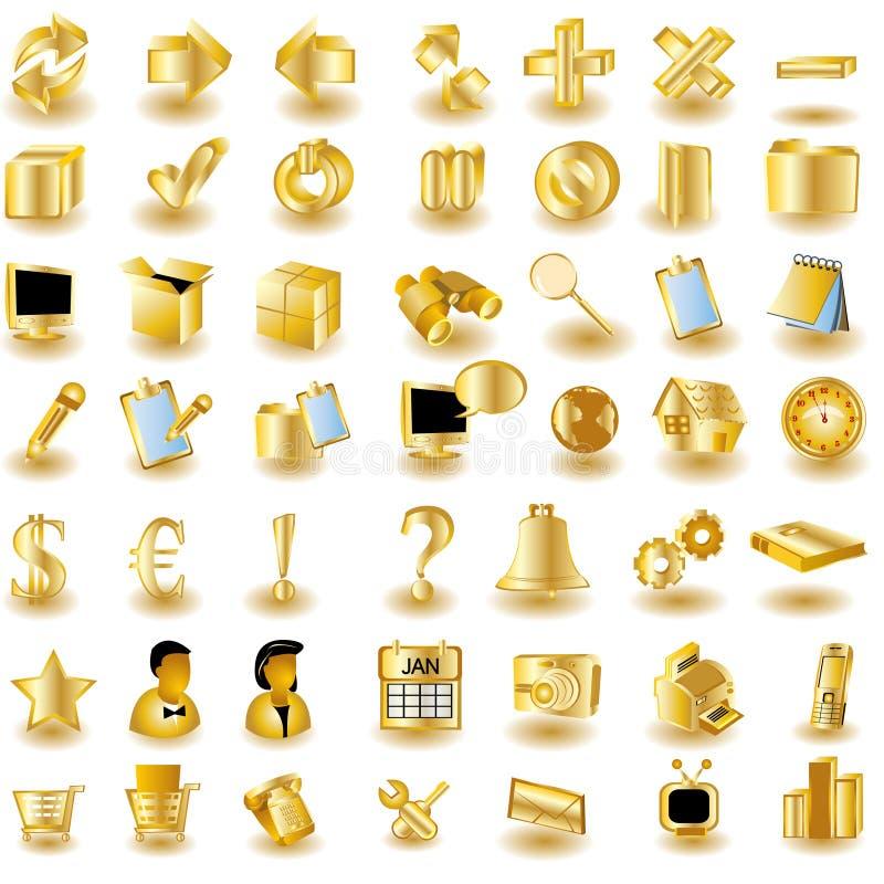 Icone dell'interfaccia dell'oro illustrazione vettoriale