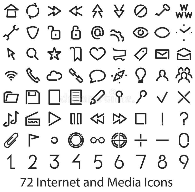 Icone dell'interfaccia utente di media e di Internet messe illustrazione di stock