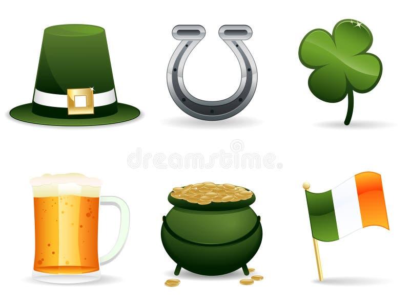 Icone dell'Irlandese di giorno della st Patrick illustrazione di stock