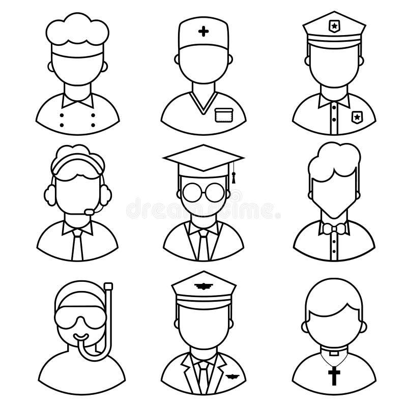 Icone dell'occupazione della gente illustrazione di stock