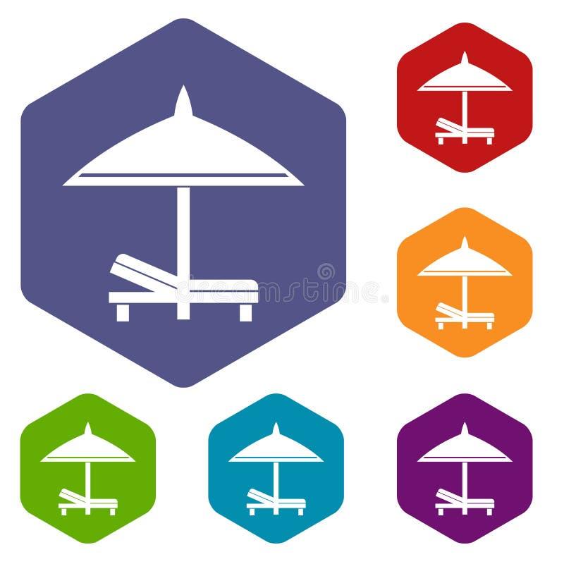 Download Icone Dell'ombrello E Del Banco Messe Illustrazione Vettoriale - Illustrazione di mobilia, spiaggia: 117979014