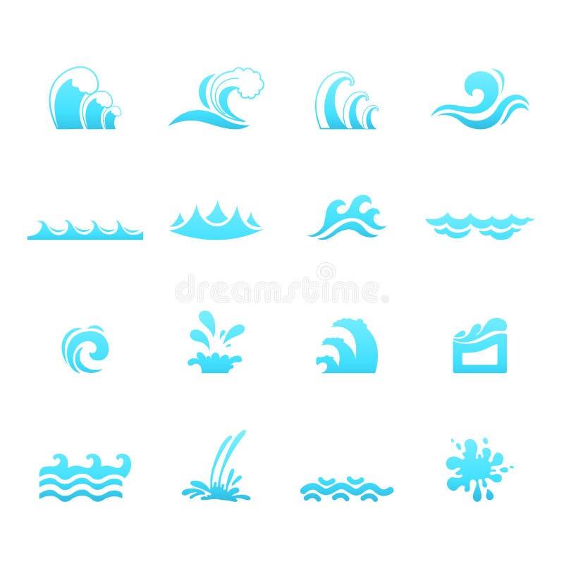 Icone dell'onda di acqua royalty illustrazione gratis
