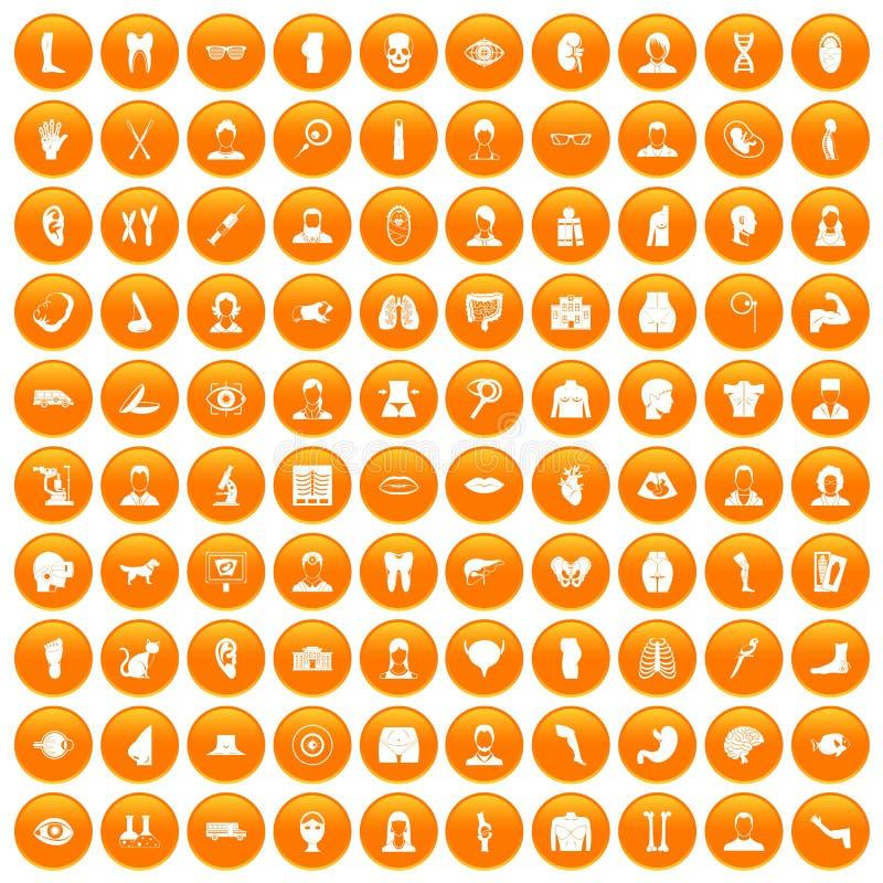 100 icone dell'organo messe arancio illustrazione di stock
