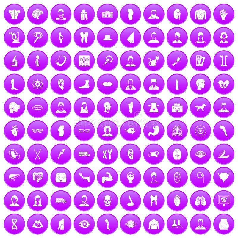 100 icone dell'organo messe porpora illustrazione di stock