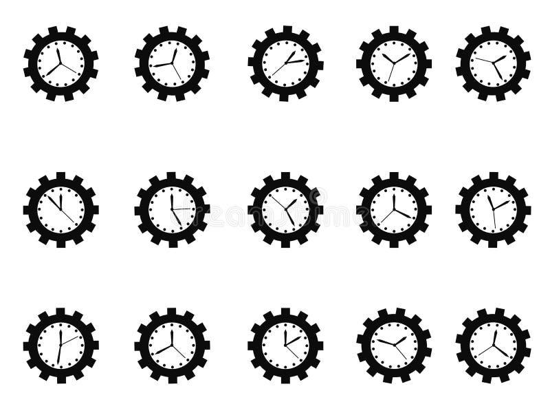 Icone dell'orologio dell'ingranaggio messe royalty illustrazione gratis
