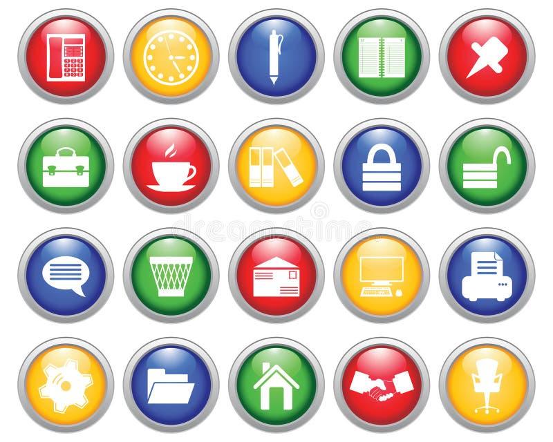 Icone dell'ufficio e di affari impostate illustrazione di stock