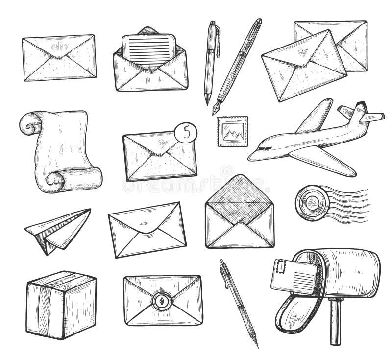 Icone dell'ufficio postale isolate su bianco illustrazione di stock