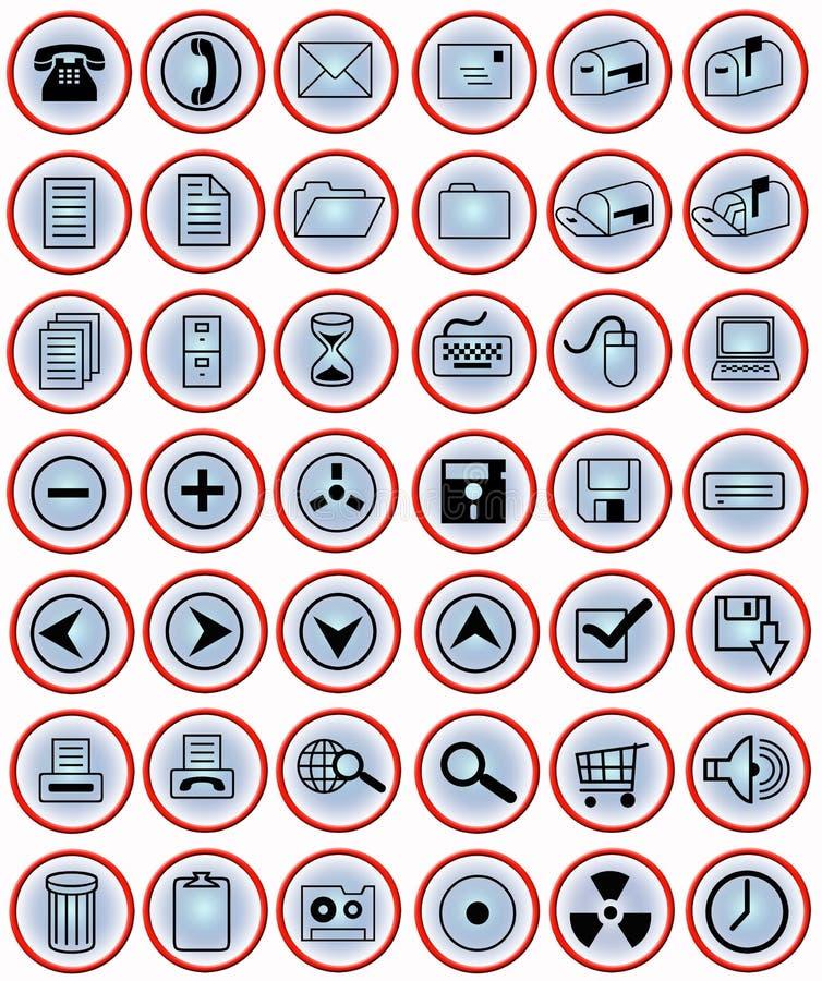 Icone dell'ufficio sui tasti blu illustrazione di stock