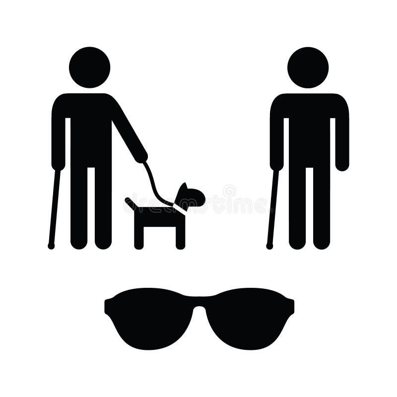 Icone dell'uomo cieco impostate - con il cane di guida, canna illustrazione vettoriale