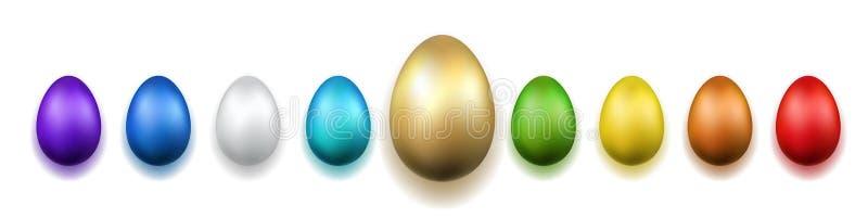 Icone dell'uovo di Pasqua 3D L'oro, uova di colore ha messo il fondo bianco isolato Progettazione dorata, celebrazione felice di  illustrazione di stock