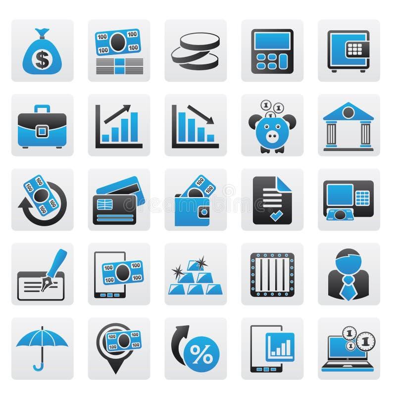 Icone della Banca, di affari e di finanze illustrazione di stock