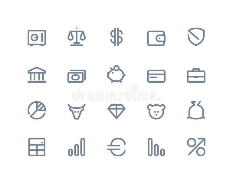 Icone della banca e di finanza Linea serie