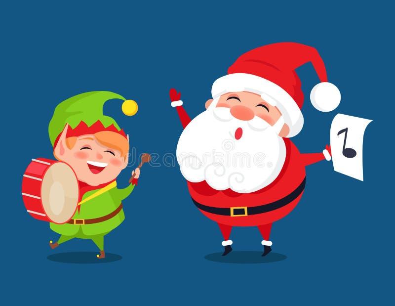 Icone della banda di musica dei personaggi dei cartoni animati di Elf e di Santa illustrazione di stock