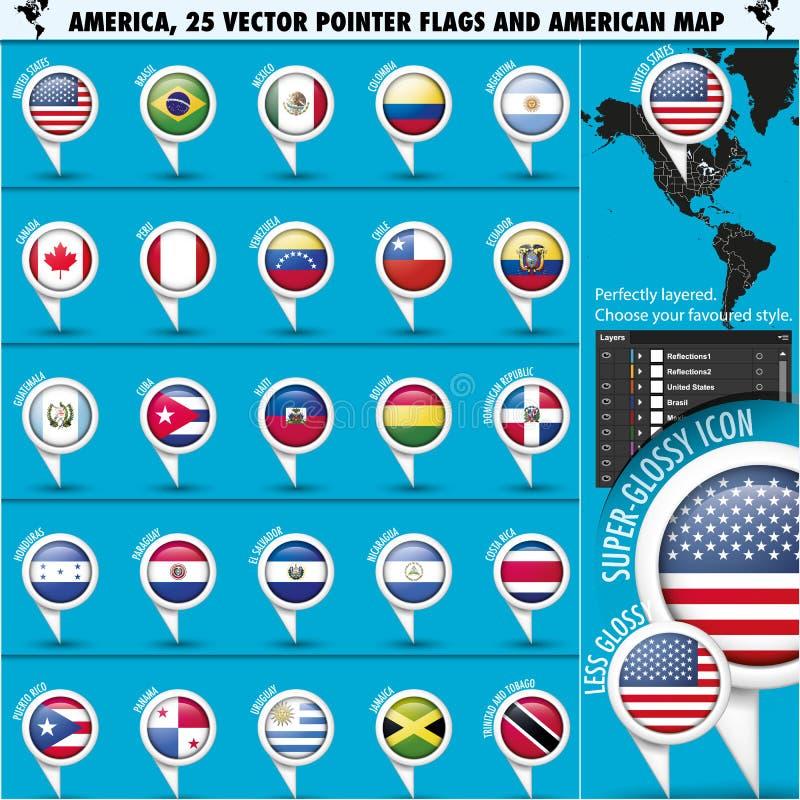 Icone della bandiera del puntatore dell'America con la mappa americana set1 illustrazione di stock