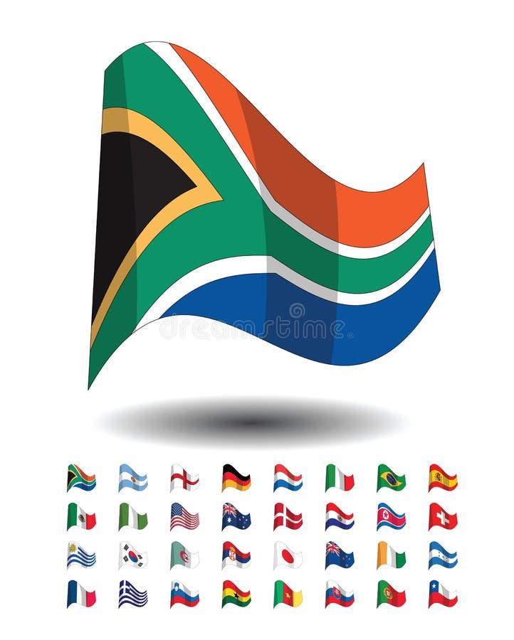 icone della bandierina di paesi, tazza di mondo della FIFA 2010 illustrazione vettoriale