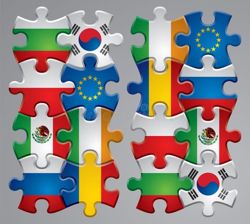 Icone della bandierina di puzzle   illustrazione di stock
