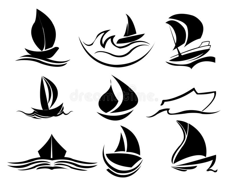 Icone della barca illustrazione di stock