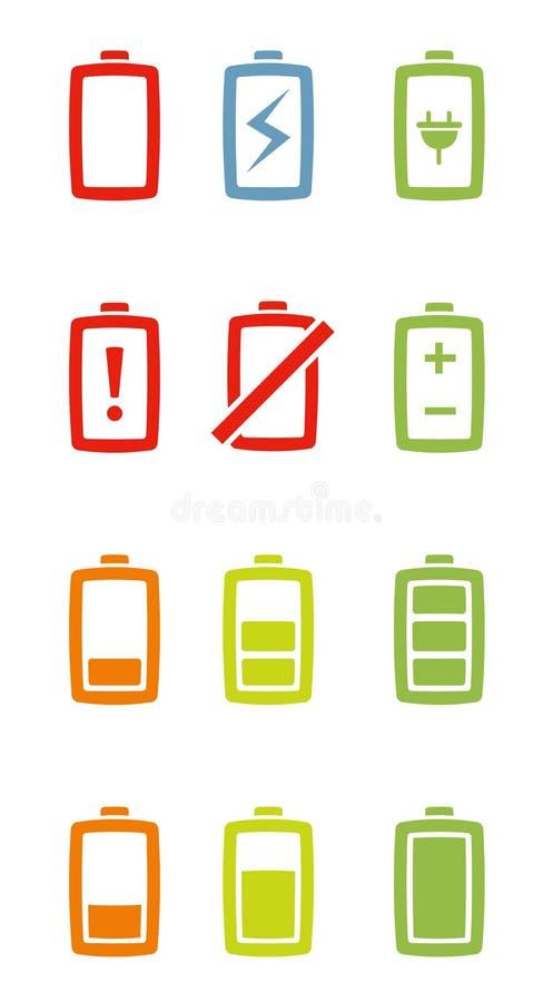 icone della batteria impostate illustrazione vettoriale