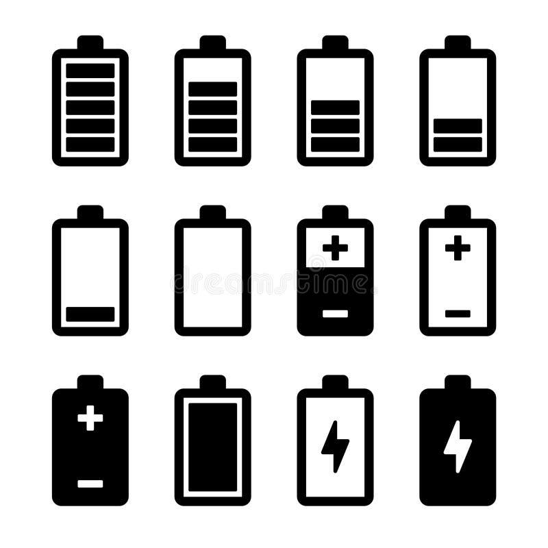 Icone della batteria messe illustrazione di stock