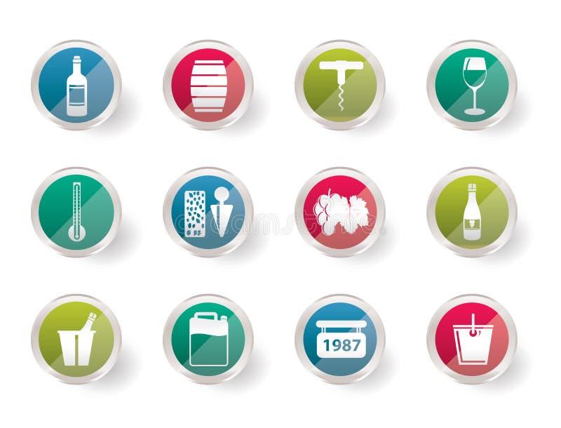 Icone della bevanda e del vino sopra fondo colorato illustrazione di stock