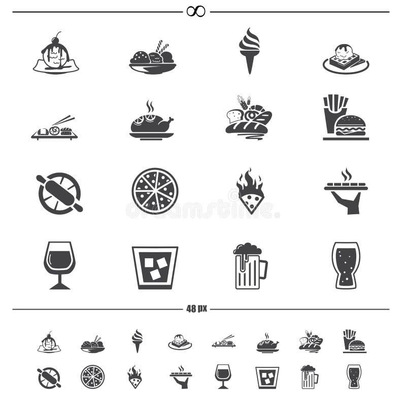 Icone della bevanda e dell'alimento royalty illustrazione gratis