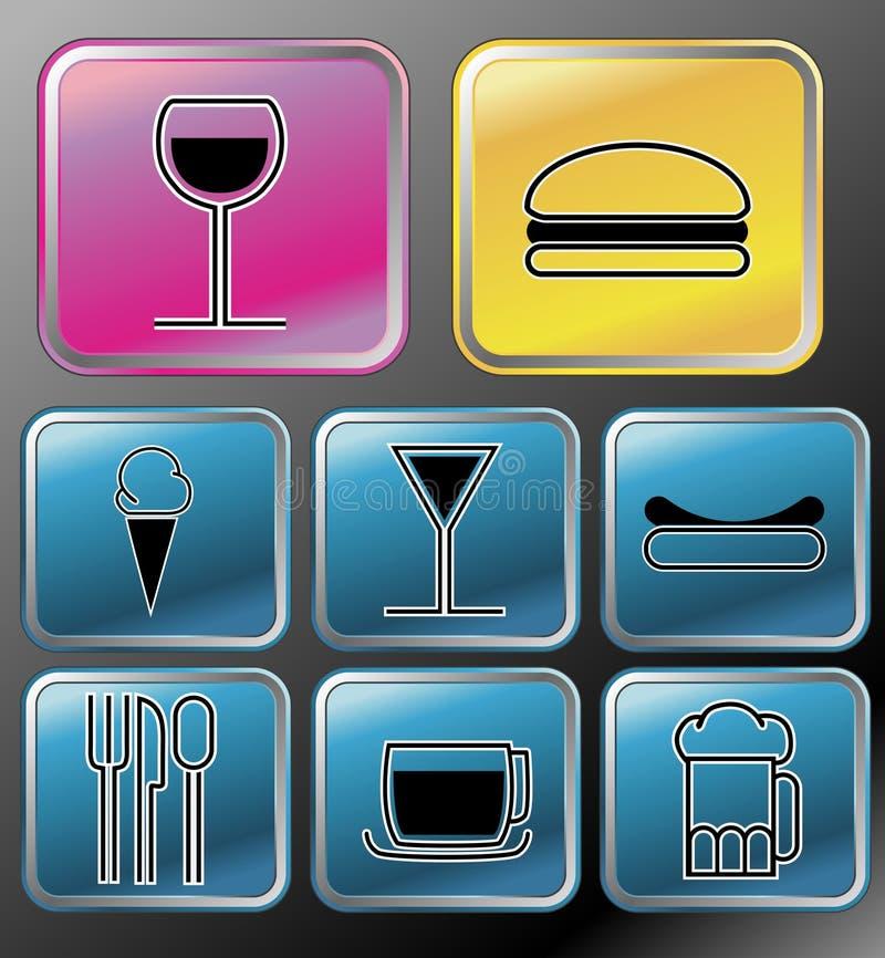 Icone della bevanda e dell'alimento illustrazione vettoriale
