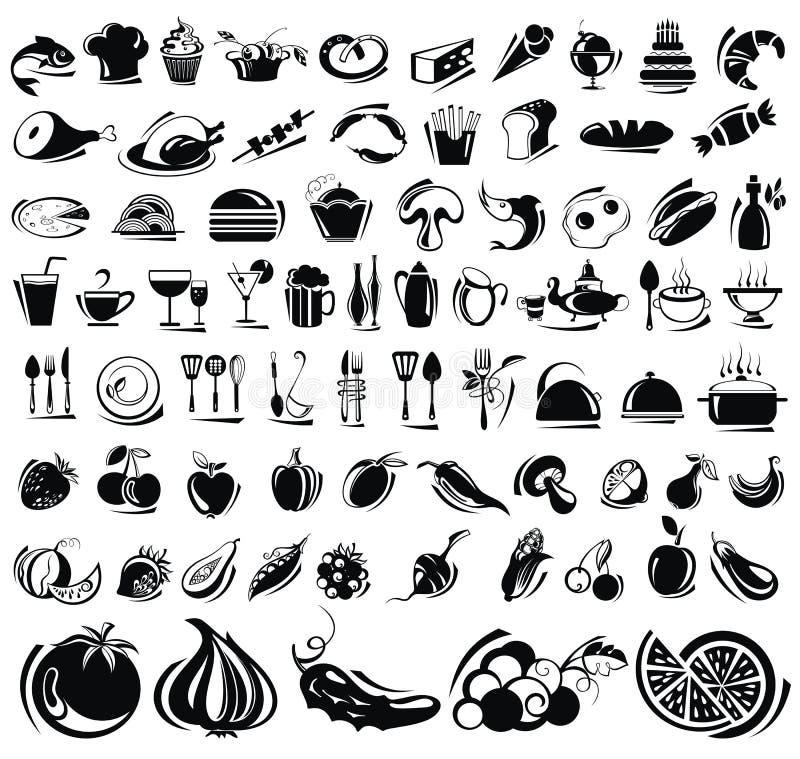 Icone della bevanda e dell'alimento messe royalty illustrazione gratis