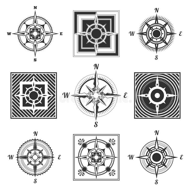 Icone della bussola messe illustrazione di stock