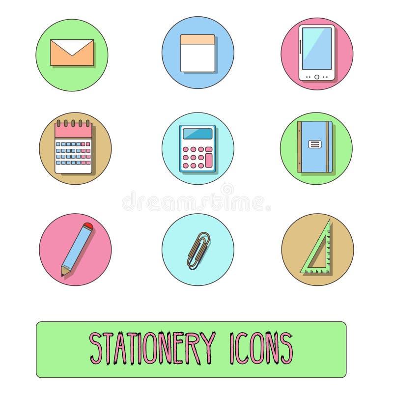 Icone della cancelleria Vector i simboli degli oggetti dell'ufficio, stile disegnato a mano illustrazione di stock