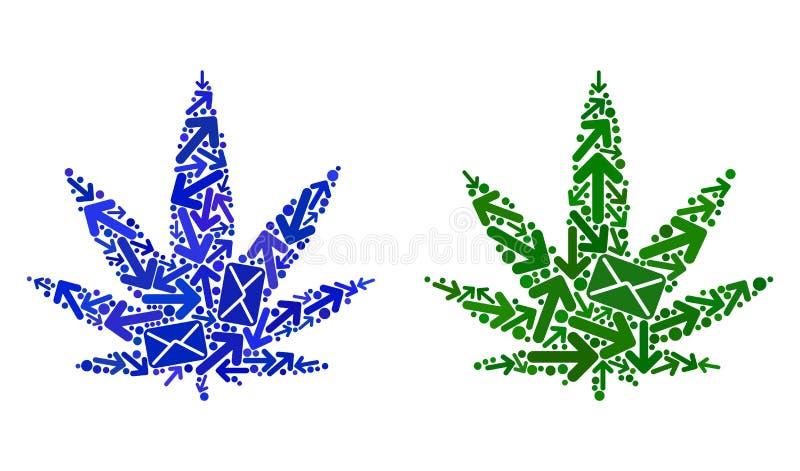 Icone della cannabis del collage di moto della posta royalty illustrazione gratis